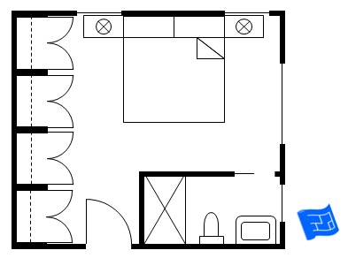 Master bedroom floor plan with bathroom in corner and a wall of wardrobes
