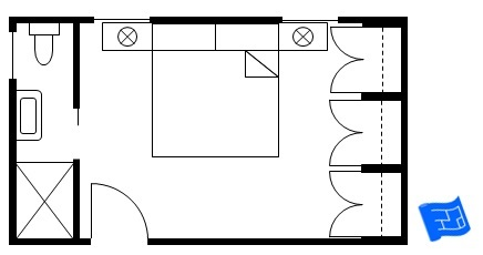 Master bedroom floor plan with side bathroom and a wall of wardrobes opposite.