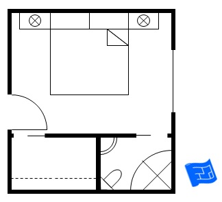 master bedroom floor plan with bathroom in corner and walk in closet