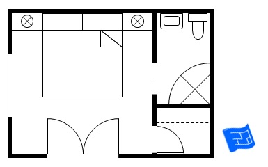 master bedroom floor plan with larger corner bathroom and small walk-in closet