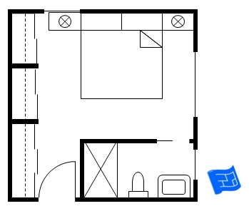 Master bedroom floor plan with a corner bathroom and wardrobe wall with sliding doors