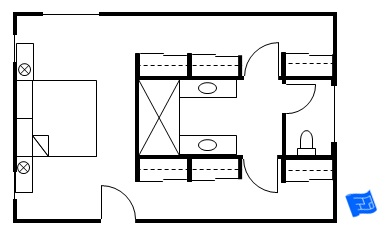master bedroom floor plans with his and hers closets flanking central bathroom