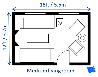 Living room size for Bedroom size
