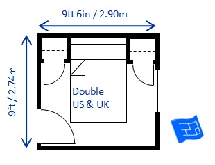 minimum bedroom size for a double bed deep headboard