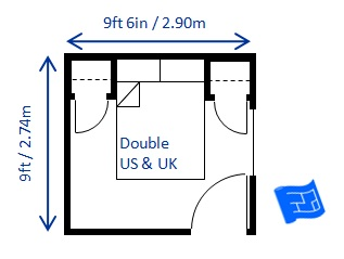 minimum bedroom size for double bed 9ft x 9ft 6in