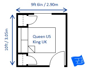 bedroom size for a queen bed