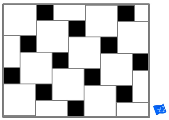 Pinwheel tile pattern - black accent