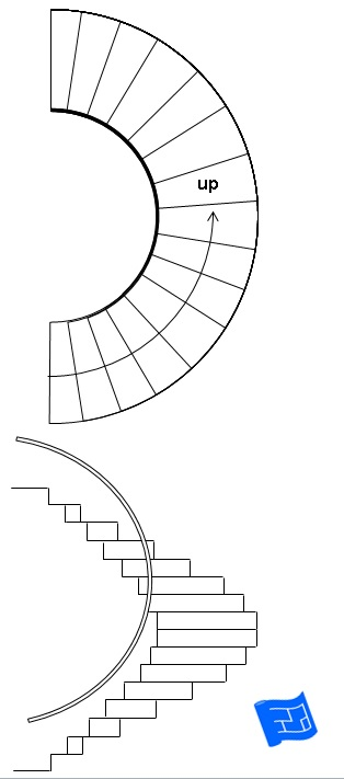 Types of stairs for Curved staircase floor plans