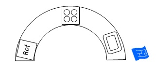 Semi circle curved u shaped kitchen