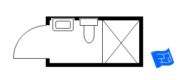 small bathroom floor plan door thin end