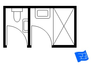 Small bathroom floor plan with toilet in separate room 5x9