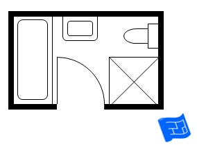 this 12ft x 6ft bathroom floor plan has the bath and shower in their own separate wet zone room its an efficient use of space because the clearance area