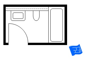 standard small bathroom floor plan with built in cistern