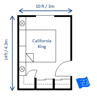 small bedroom design california king 10 x 14ft ...