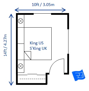 Another 10 x 14ft bedroom design for king bed