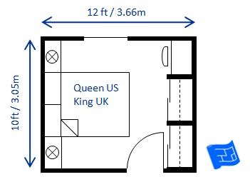 Bedroom size for 10 x 13 living room layout