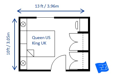 Bedroom size for 8 x 12 room design