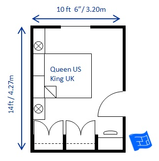 Bedroom size for 10 feet by 10 feet room