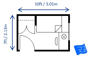 bedroom size for twin/single bed sized to code 7 x 10