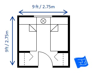 Bedroom size for a twin bedroom (two singles)
