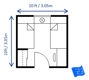 Bedroom size for 10 x 12 living room layout