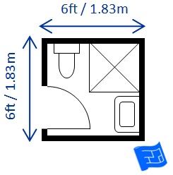 Bathroom Dimensions - Standard bathroom size with shower
