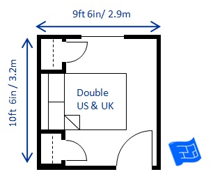 bedroom size for a double bed