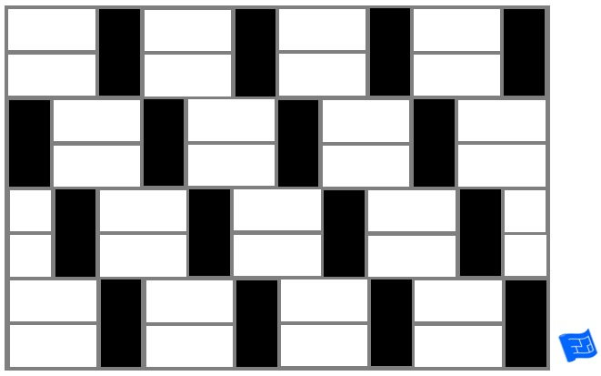 Subway tile brick tile pattern horizontal and vertical - tile offset - black and white