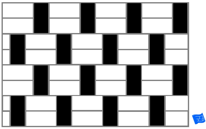 Subway tile brick tile pattern horizontal and vertical - black and white