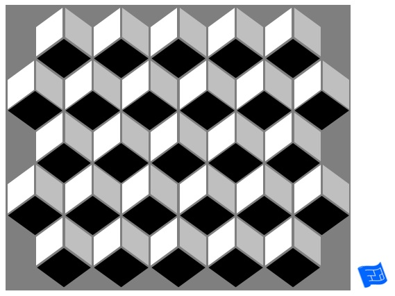 3D cube geometric tile pattern