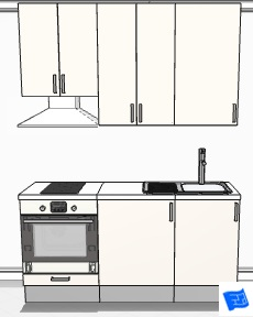 tiny galley kitchen design 3d