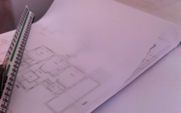 Using tracing paper to draw floor plans