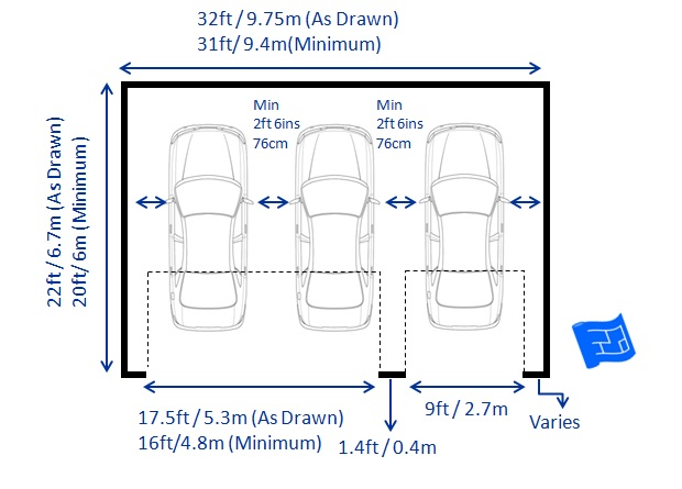 Garage dimensions for 2 car garage size square feet