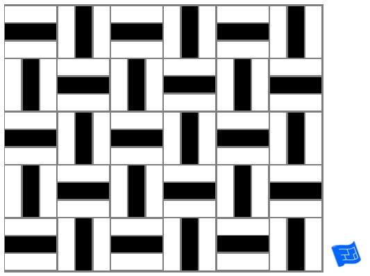 Triple block tile pattern - single stripe