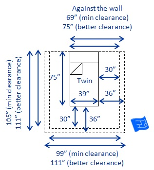 us single twin bed dimensions and clearance