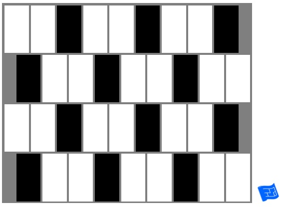 Subway tile brick tile pattern - vertical - black and white