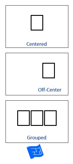 Picture showing windows centered, off-centered and grouped centrally.