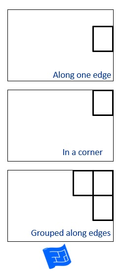 Picture showing windows at the edge, in a corner and grouped in a corner.