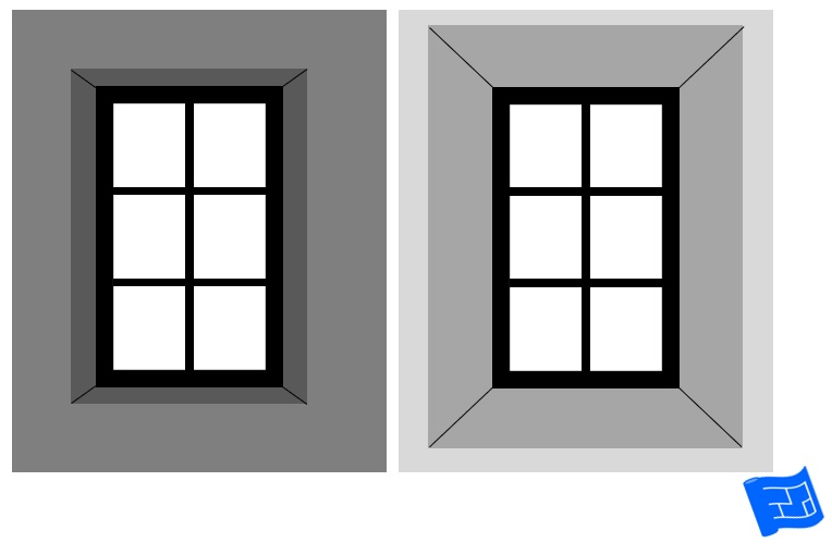 Diagram showing the different levels of glare with a straight reveal versus a flared reveal.