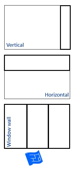 Picture showing windows extending the whole length of the wall vertically, horizontally and the whole wall as a window wall.